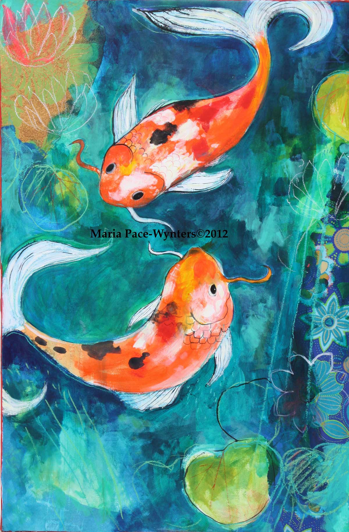 Koi pond painting the image kid has it for Koi fish pond