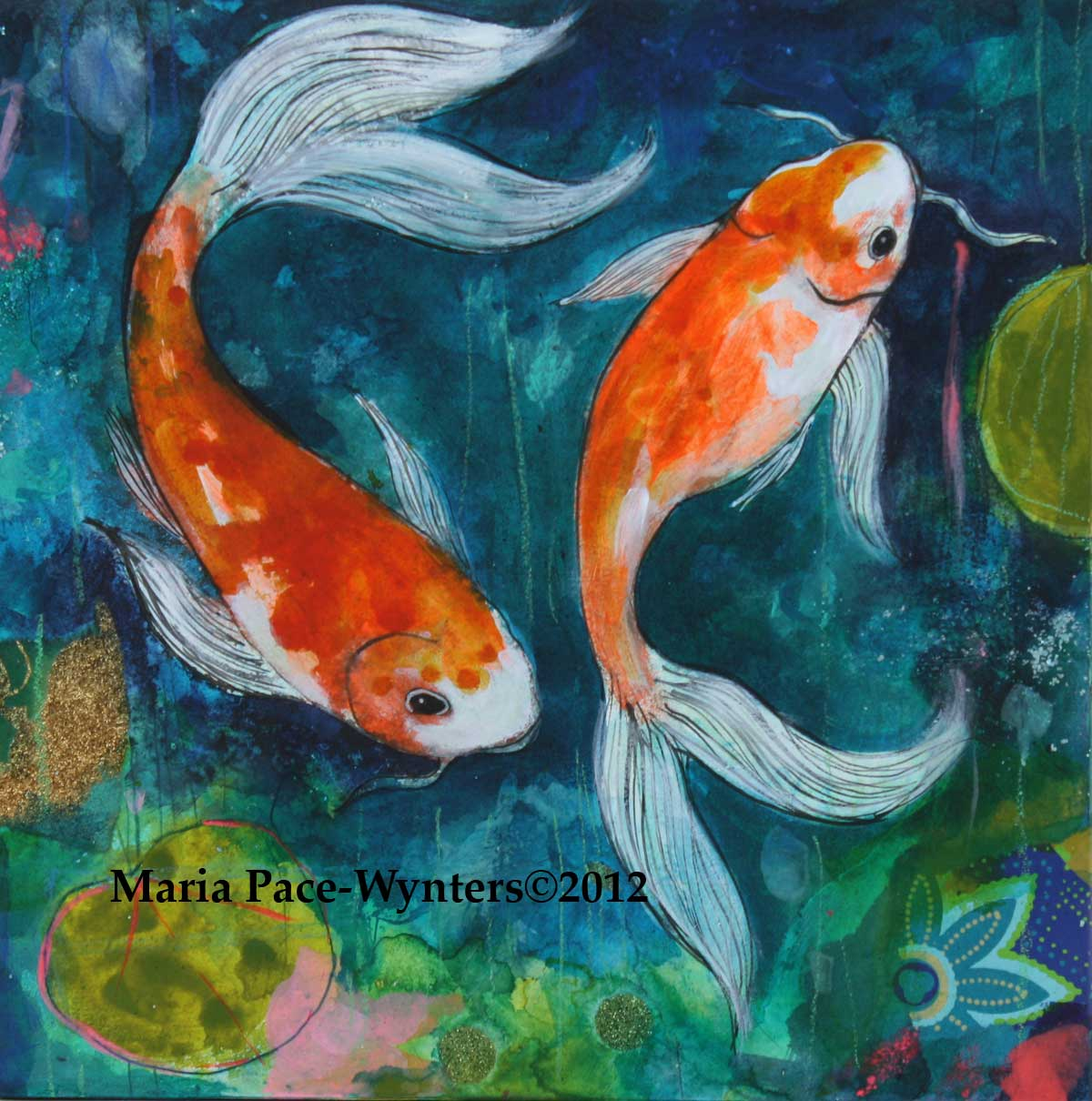 Acrylic Paintings Coy Fish