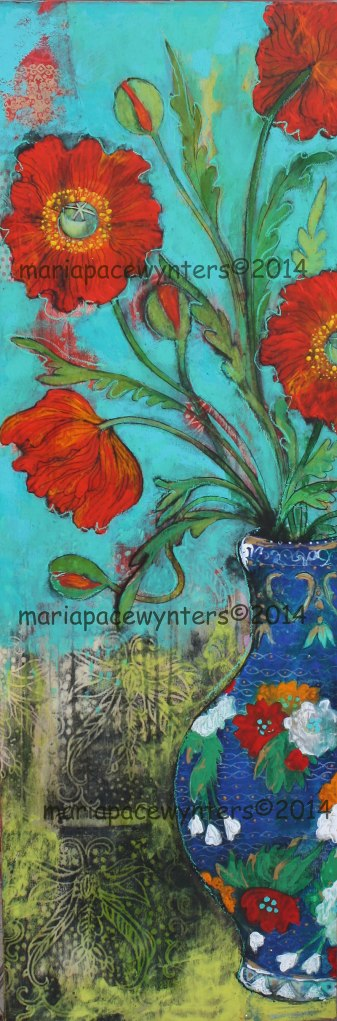 Poppies-In-A-blue-Vase