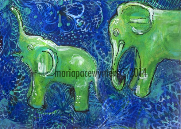 Two-Elephants-With-Blue-Background