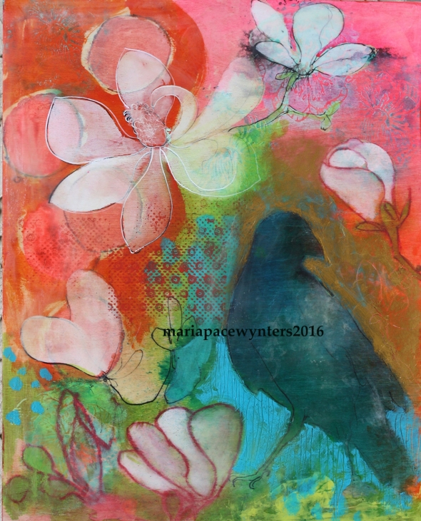 Crow And Magnolias (pink)
